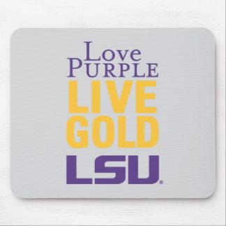 Logotipo vivo del oro LSU de la púrpura del amor Alfombrilla De Raton