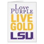 Logotipo vivo del oro LSU de la púrpura del amor Tarjeta De Felicitación