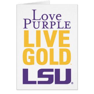 Logotipo vivo del oro LSU de la púrpura del amor Tarjeta