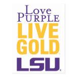 Logotipo vivo del oro LSU de la púrpura del amor Postal