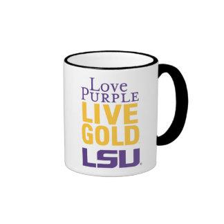 Logotipo vivo del oro LSU de la púrpura del amor Tazas De Café