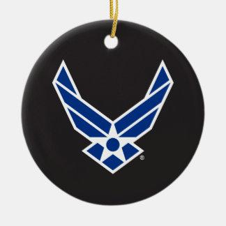 Logotipo y estrella azules de la fuerza aérea adorno navideño redondo de cerámica