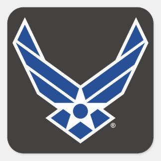 Logotipo y estrella azules de la fuerza aérea calcomanía cuadradase