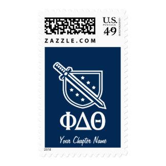 Logotipo y letras apilados - azul y blanco franqueo