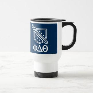 Logotipo y letras apilados - azul y blanco tazas de café