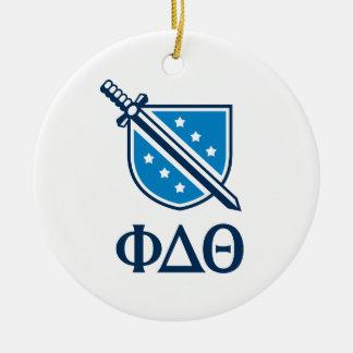 Logotipo y letras apilados - Blue1 Adorno Navideño Redondo De Cerámica