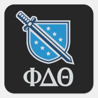 Logotipo y letras apilados - gris pegatina cuadrada