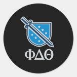 Logotipo y letras apilados - gris pegatina redonda