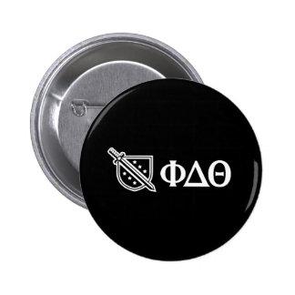 Logotipo y letras blancos pin redondo de 2 pulgadas
