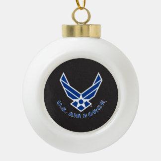Logotipo y nombre azules de la fuerza aérea adorno de cerámica en forma de bola