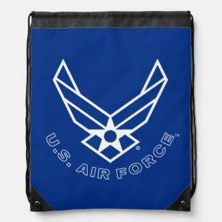 Logotipo y nombre azules de la fuerza aérea con el mochilas
