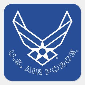Logotipo y nombre azules de la fuerza aérea con el pegatina cuadrada