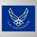 Logotipo y nombre azules de la fuerza aérea con el póster