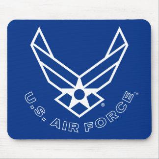 Logotipo y nombre azules de la fuerza aérea con el tapetes de raton
