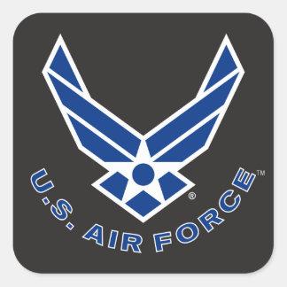 Logotipo y nombre azules de la fuerza aérea pegatina cuadrada