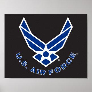 Logotipo y nombre azules de la fuerza aérea póster