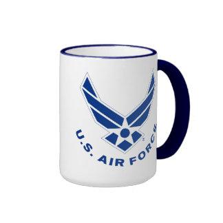 Logotipo y nombre azules de la fuerza aérea taza de dos colores