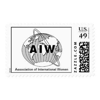Logotipo y nombre de AIW en el fondo blanco Sello Postal