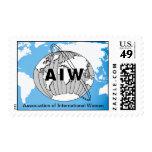 Logotipo y nombre de AIW en mapa azul con Asia Sello