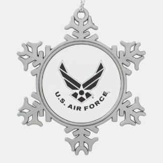 Logotipo y nombre negros de la fuerza aérea con el adorno de peltre en forma de copo de nieve