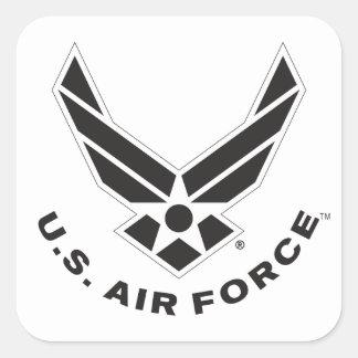 Logotipo y nombre negros de la fuerza aérea con el pegatina cuadrada