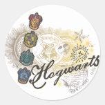 Logotipo y profesores 2 de Hogwarts Etiquetas Redondas