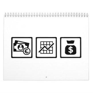 Logotipos de las finanzas del banquero calendario