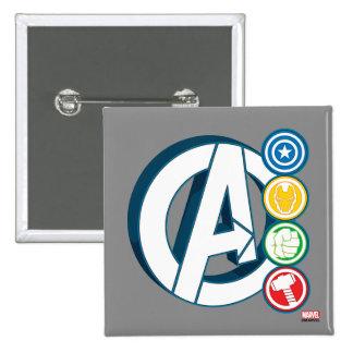 Logotipos del carácter de vengadores pin cuadrado