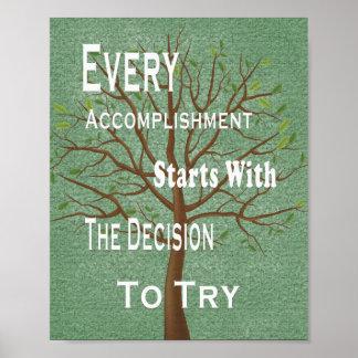 Logro y realización de motivación póster