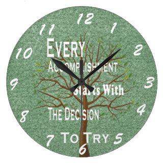 Logro y realización de motivación reloj redondo grande