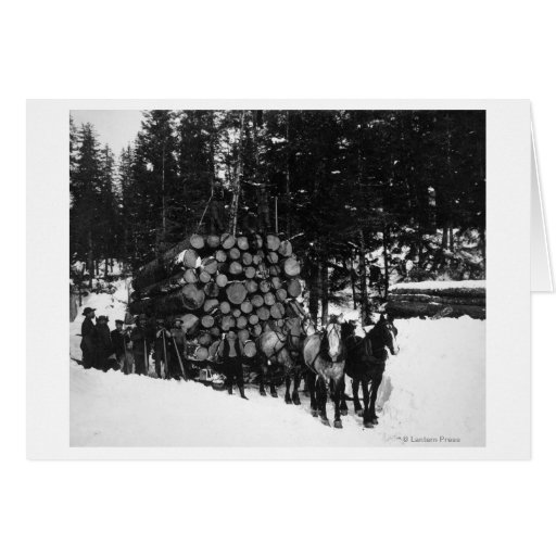 Logs being hauled on a Sleigh by a Team of Horse Cards