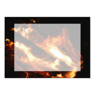 logs in flames photograph card