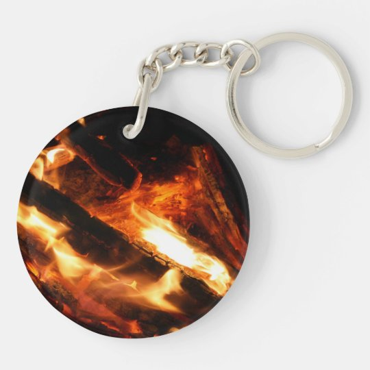logs in flames photograph keychain