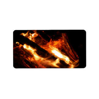 logs in flames photograph label