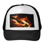 logs in flames photograph mesh hats