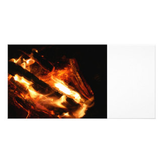 logs in flames photograph photo card