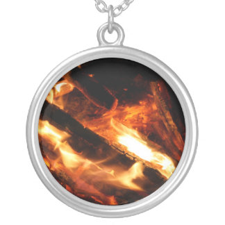 logs in flames photograph silver plated necklace