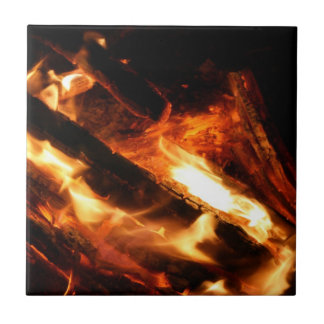 logs in flames photograph small square tile