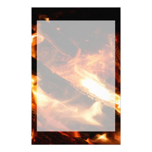 logs in flames photograph stationery paper