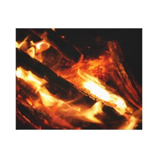 logs in flames photograph stretched canvas prints