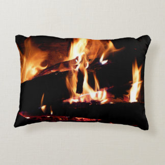 Logs in the Fireplace Accent Pillow