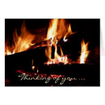 Logs in the Fireplace Thinking of You Card