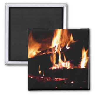 Logs in the Fireplace Warm Fire Photography 2 Inch Square Magnet