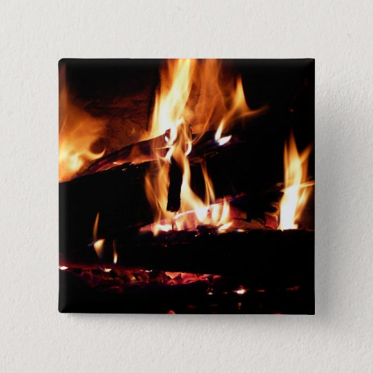 Logs in the Fireplace Warm Fire Photography Button