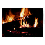 Logs in the Fireplace Warm Fire Photography Card