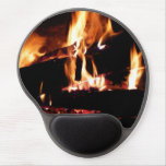 Logs in the Fireplace Warm Fire Photography Gel Mouse Pad