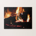 Logs in the Fireplace Warm Fire Photography Jigsaw Puzzle