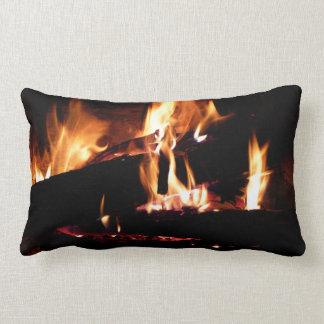 Logs in the Fireplace Warm Fire Photography Lumbar Pillow