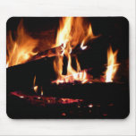 Logs in the Fireplace Warm Fire Photography Mouse Pad
