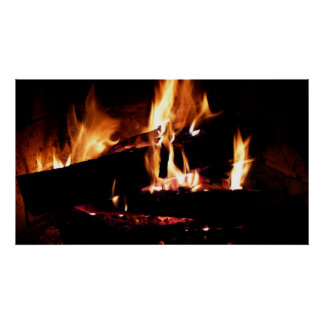 Logs in the Fireplace Warm Fire Photography Poster